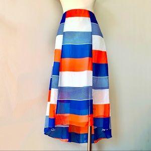 Ann Taylor colorblock drop hem orange blue skirt 0